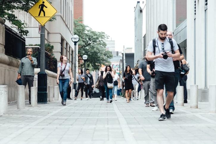 street, people, crowd, road, sidewalk, tourist, walking