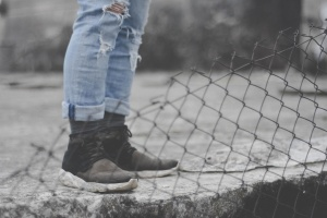 pants, wire, fence, footwear, legs, man, person, recreation