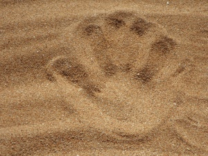 imprint, sand, beach, handprint