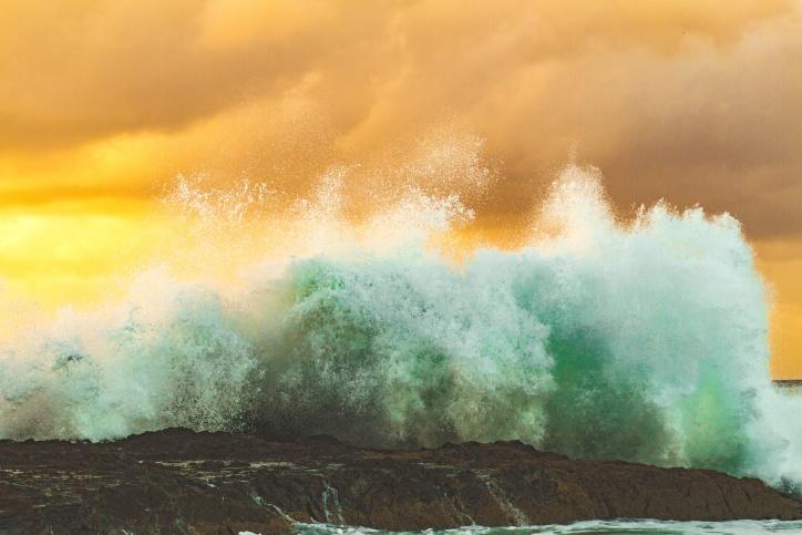 Bãi biển, bờ biển, đá, biển, nước, giật gân, sóng
