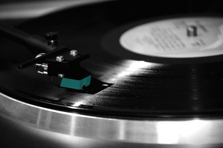 Muzyka, dźwięk, play, okrągłe, błyszczący, gramofon, winylu