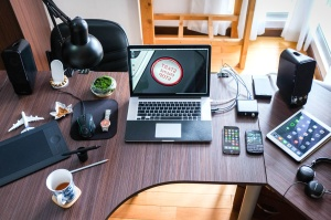 tecnologia, legno, lavoro, tazza di caffè, computer, scrivania, elettronica