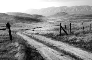 road, farm, fence, field, grass, hills, mountains