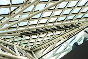 fütüristik, geometrik, sanayi, modern, bakış açısı, yansıma, çelik