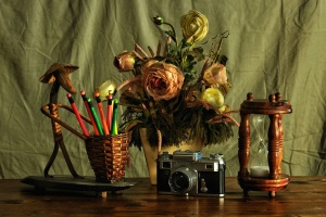 camera, decoration, desk, flowers, bloom, blossom