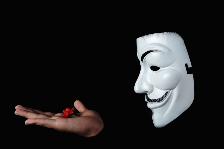 unknown, anonymous, person, hand, flower, mask, person