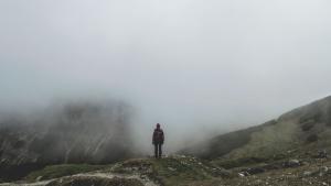 mountain climbing, fog, cold, hiker, hiking, man, mountain