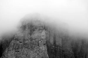 fog, mountain, nature, rock