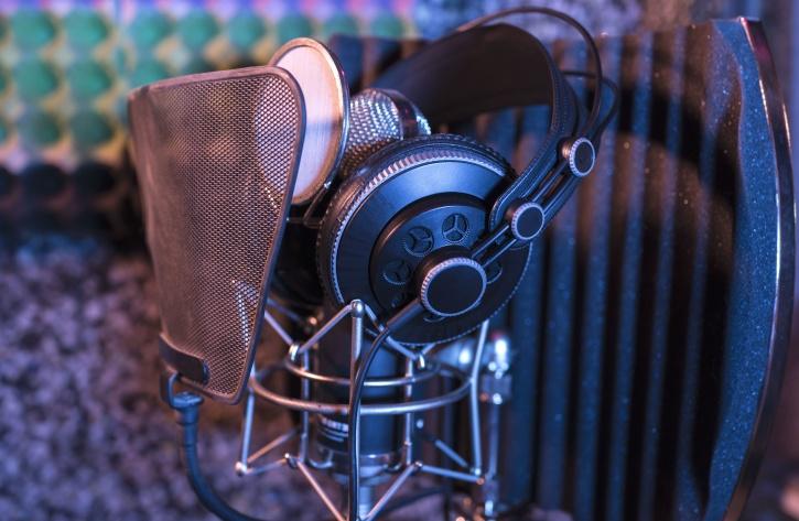 snimati, studio, oprema, slušalice, mikrofon