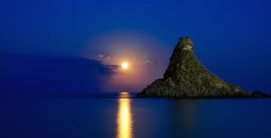 horizon, île, nuit, nature, plage, beau, eau, nuages