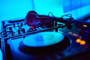 грамофон, електроника, оборудване, слушалки, музика, звук