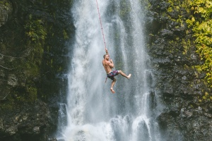 man, waterfall, summer, thrill, travel, trees, vacation, water, jump