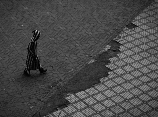 person, road, stripes, tiles, walking, man, path