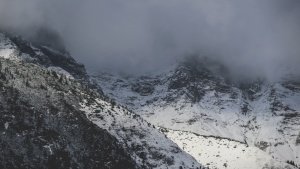 fog, mountain peak, landscape, mountain, nature, snow, winter