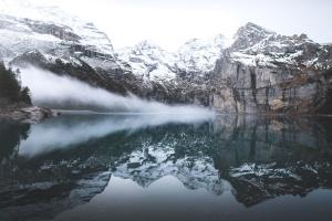 congelado, glaciar, sombrío, nebuloso, hielo, helado, lago