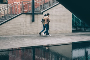 reflexión, escalera, calle, urbano, caminar, agua, ladrillos