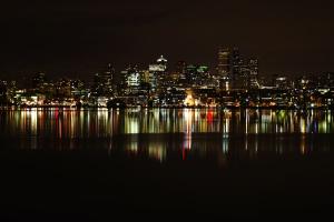 svjetla, noći, grad, odraz, more, vodu