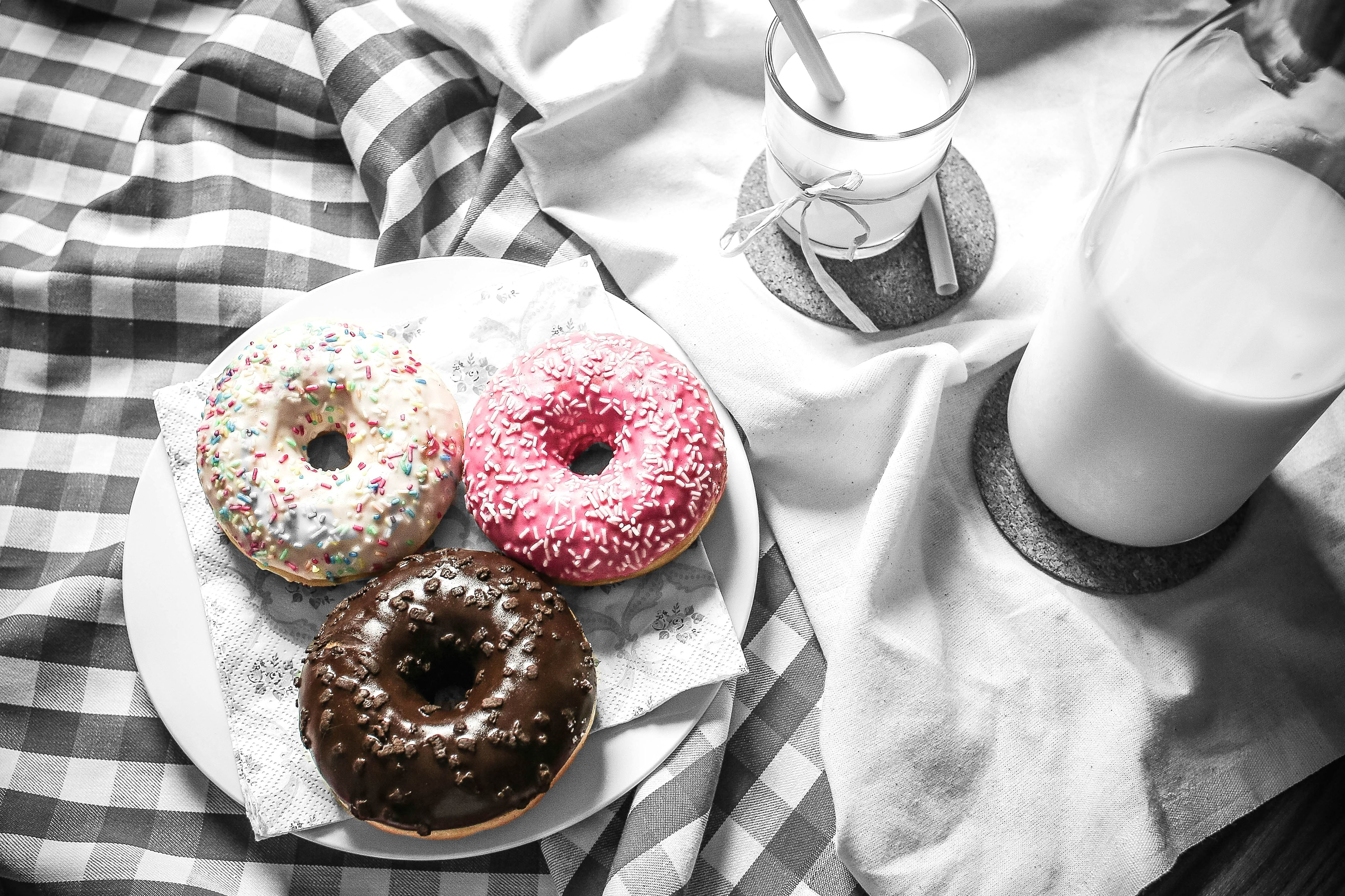 Free Picture Colourful Dessert Donuts Food Milk