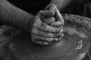 arcilla, artesano, sucio, mano, moldeo a mano, cerámica, habilidad, trabajo