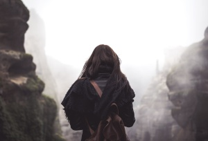winter, woman, backpack, daylight, foggy, hazy, landscape