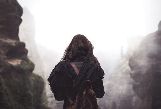 winter, woman, backpack, daylight, foggy, hazy, landscape
