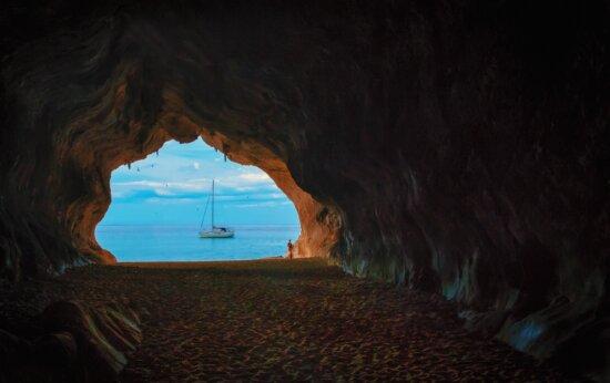travel, water, beach, cave, sea, seashore