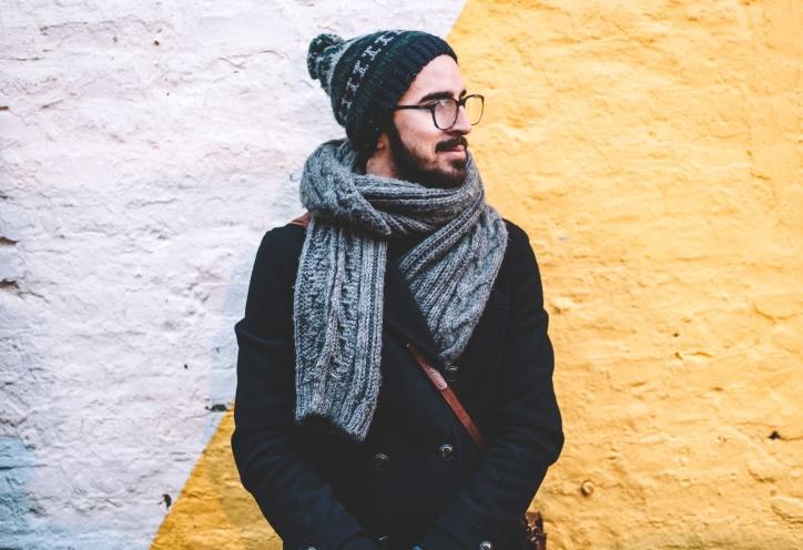 Persona, bufanda, estación, calle, warmly, barba, abrigo, frío