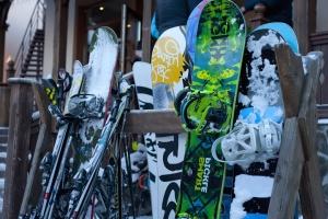 led, spremište, snijeg, snowboard, snijeg, urbane, zima