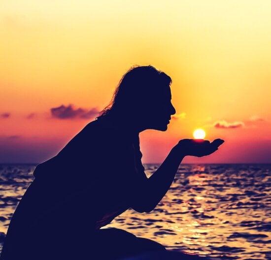 silhouette, sky, sun, water, woman, beach, cloud