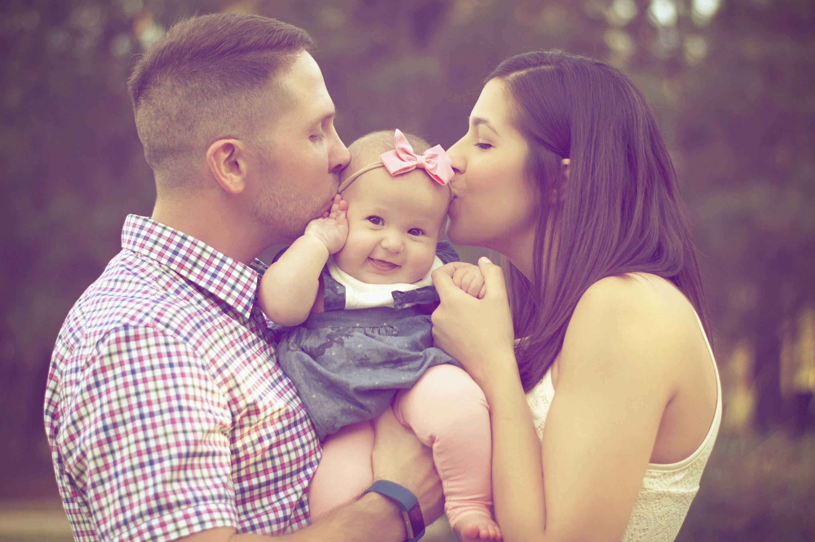 Free Picture Baby Girl Beautiful Kisses Love Mother Father