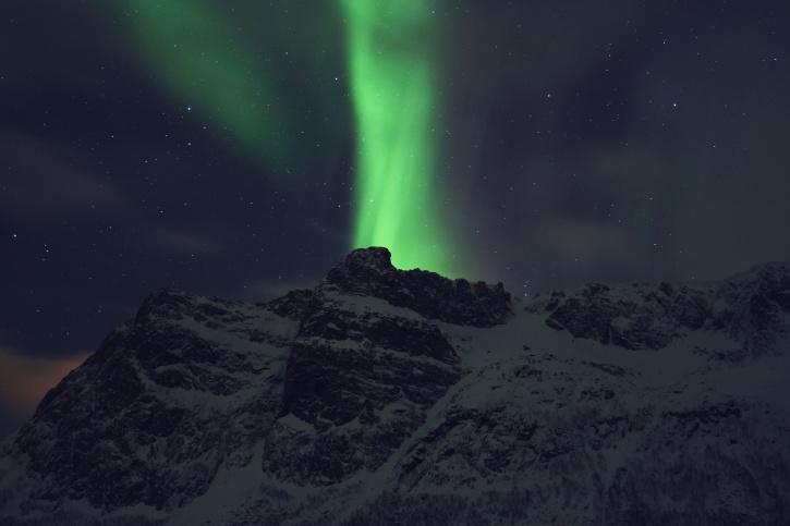 aurora borealis, noc, światło polarne, Góra, niebo, śnieg, gwiazdek