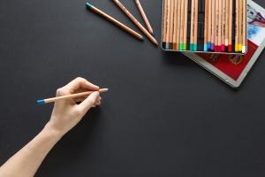 pencil, colour, hand, paper, write