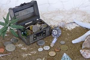 Reise, schatz, strand, kasten, bargeld, flasche, metall, geld