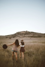 people, women, friends, girls, grass, hill, landscape