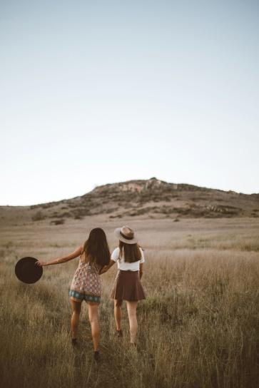 people, women, friends, girls, grass, hill, landscape