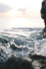 vann, bølger, vinter, stranden, øya, landskap, hav, rock