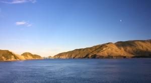 shore, sky, water, lake, mountains, coast
