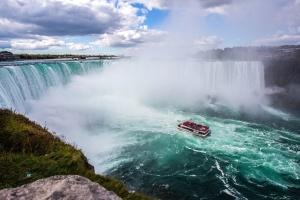 barco, cielo, agua, cascadas, barco, naturaleza
