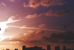 silhouette, sky, city, cloud, dusk
