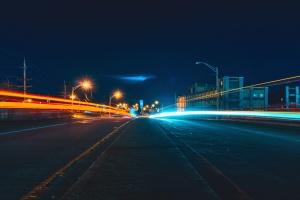 asfalt, gebouwen, licht, stad, nacht, road, snelheid, straat
