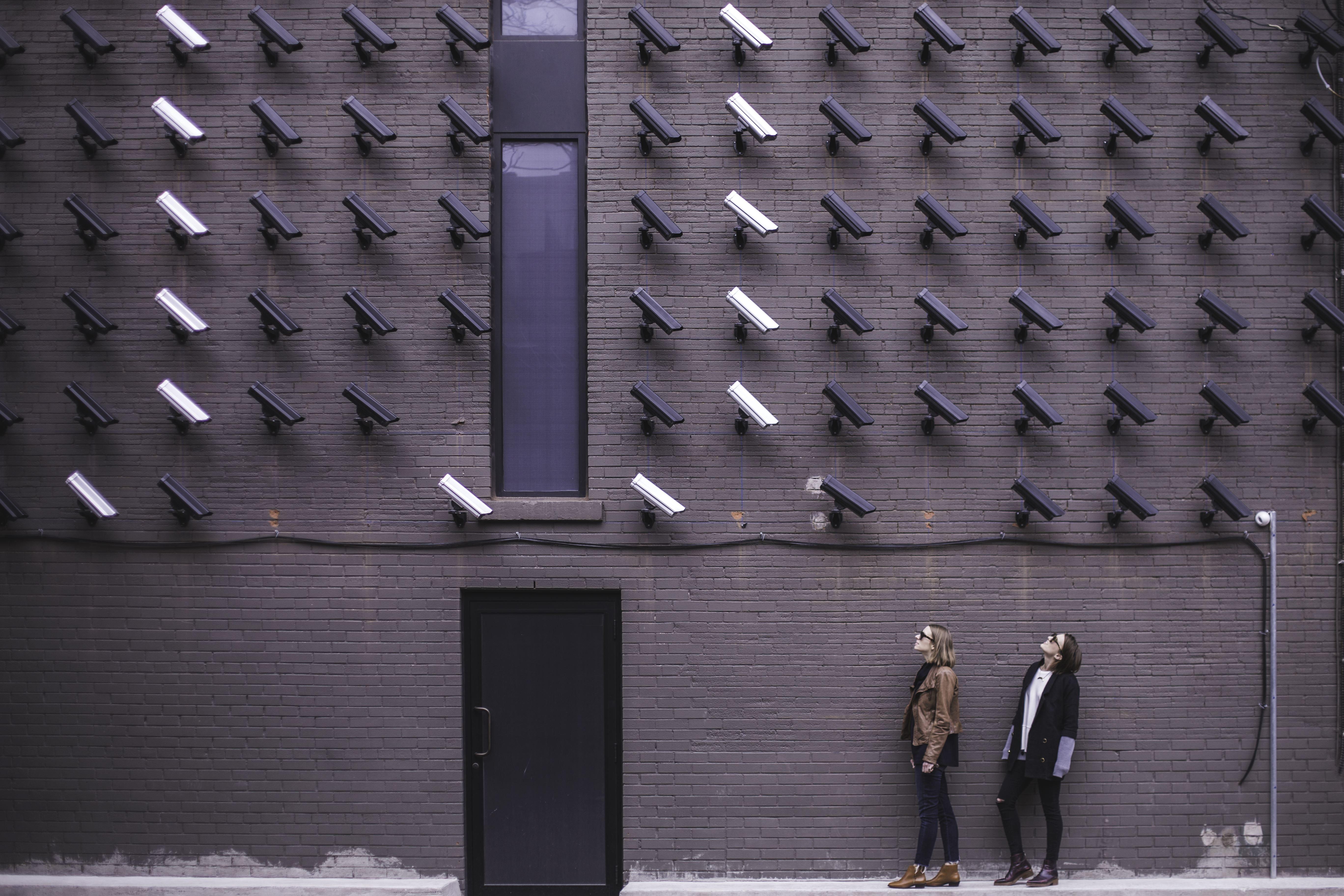 Security Camera Wall Women Brick Building Door