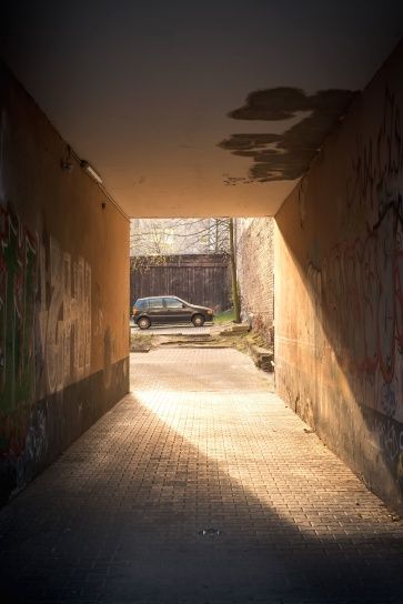 road, shadow, street, tunnel, vehicle, wall, abandoned, alley, architecture