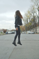 road, street, urban, wear, woman, jump, jacket, pants