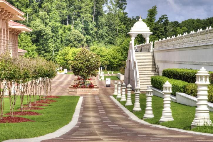 castle, pillars, plants, road, summer, tree, architecture, building
