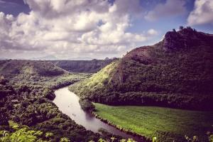 cielo, árboles, Valle, agua, madera, bosque, hierba, hill