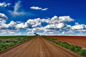 road, sky, cloud, desert, dirt, road, farm, farmland, field, grass
