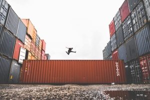 person, puddle, business, commerce, container, export, freedom, industry, jumping