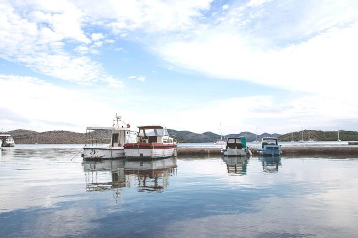 ship, port, water, boats, lake, mountains