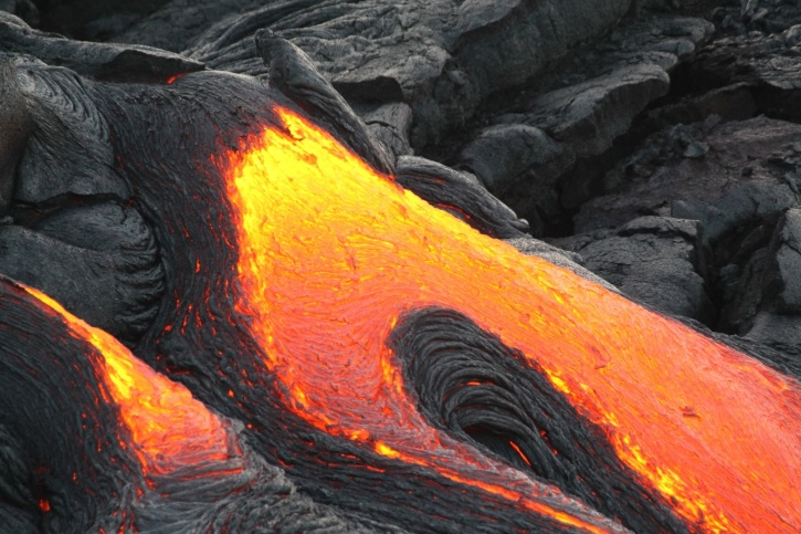 volcano, eruption, flame, flowing, geology, rocks