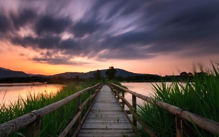 silhouette, sky, dock, mountain, nature, dusk, grass, idyllic